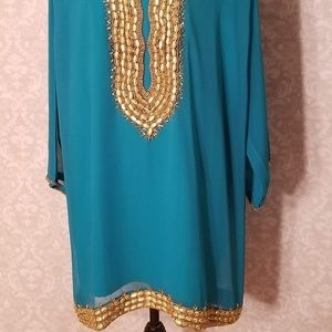 354672d5f0f Divina Tops - Turquoise Indian Pakistani Plus Size Tunic Top